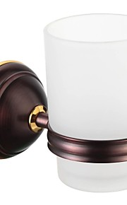 Oil Rubbed Bronze Brass Wall-mounted Double Tumbler Holder