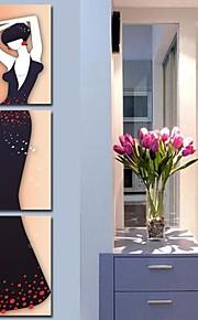 Toiles Tendues les gens de l'art fashion girl ensemble de trois