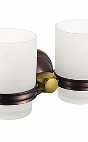 Oil Rubbed Bronze Finish Contemporary Style Brass Wall Mounted Double Cup Toothbrush Holder