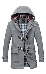 Men's Slim Casual Hoodie Tweed Trench Coat