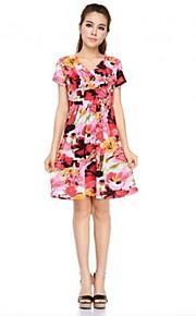 liebe Druck V-Kragen Mode Kleid even® Frauen (rot)