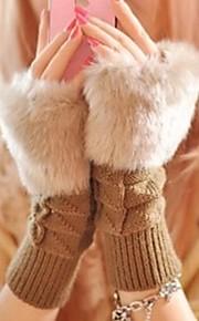 Frauen karierten kurzen Absatz warme Strickhandschuhe