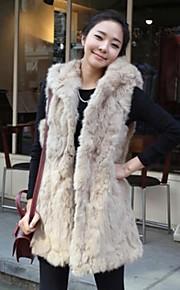 gilet de fourrure fausse fourrure chaude veste longue avec capuche (plus de couleurs)