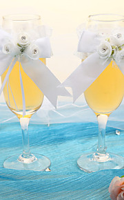 Noble Clear Champagne Glass With White Rose Ribbon-Set Of 2