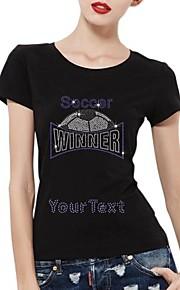personlig rhinestone t-tröjor fotboll vinnare mönster kvinnors bomull korta ärmar