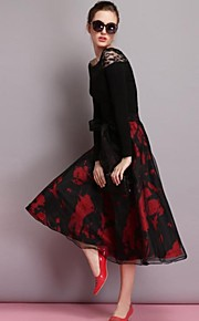 Women's Red/Black Skirts , Vintage/Casual Above Knee