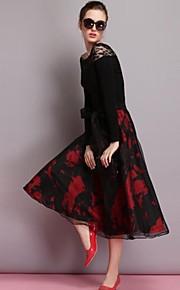 obell® Modeblumendruck Spleißen Organza über Knie Blase Rock