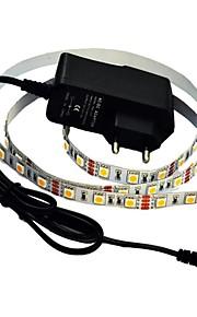 jiawen® 1m 5W 60x5050smd 3000-3200k blanc chaud / blanc led strip puissance de 1a (AC 110-240V) de lumière souple +