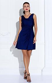 Homecoming Cocktail Party/Holiday Dress - Dark Navy Sheath/Column Cowl Short/Mini Jersey