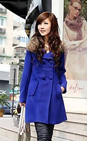 Women's Large Yard Long Section of Thick Woolen Fur Collar Long Sleeved Woolen Coat