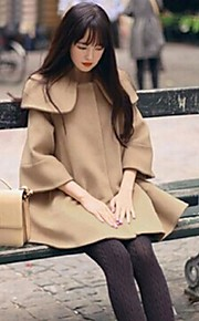Women 's   Korean  Casual  Tweed Plus Sizes Long Coat