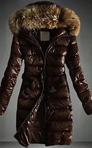 ארוך - קז'ואל - שרוול ארוך - מעיל פוך ( כותנה/פרווה/פוליאסטר )