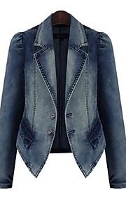 Women's Turn Down Collar Oversize Denim Jacket Coat
