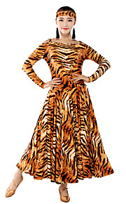 Performance Women's Viscose Sueded Off The Shoulder Animal Print Ballroom Modern Dance Dress