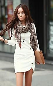 הכפתורים של הנשים לעצב שמלה מוצקה רזה צבע מיני, שרוול ארוך בתוספת גודל