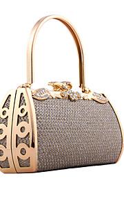 Handbag Crystal/ Rhinestone/Faux Leather/Metal Evening Handbags/Bridal Purse With Floral Rosette/Metal