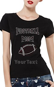 personlig rhinestone t-tröjor fotboll mom mönster kvinnors bomull korta ärmar