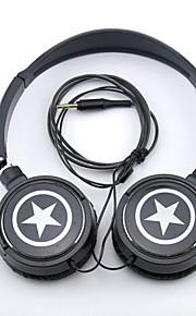 spc06 stjerner logo stereo hovedtelefon 3,5 mm jackstik løbet øre for mp3 / telefoner / pc