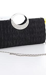 Women Silk Event/Party Evening Bag White / Black / Fuchsia
