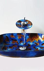 multicolour elipse vaso de vidro temperado pia com torneira em cascata, pop - up de drenagem e anel de montagem