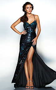 Homecoming Dress Sheath/Column Spaghetti Straps Floor-length Sequined