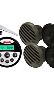 Waterproof Marine Radio Stereo ATV UTV Audio Receiver+ 3 Inch Black Waterproof Speakers+Radio Antenna