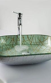 elipse temperado pia vaso de vidro de prata com torneira em cascata, pop - up de drenagem e anel de montagem