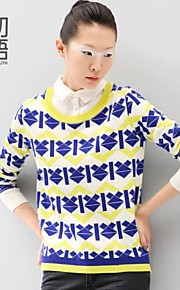 Women's Blue/Red/Yellow Pullover , Casual Long Sleeve