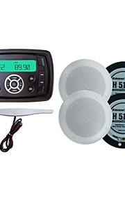 Waterproof Marine Radio Stereo ATV UTV Audio Receiver+4 Inch White Waterproof Speakers+Radio Antenna
