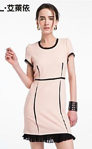 Women's Pink/Black Dress , Bodycon/Casual Short Sleeve