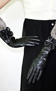 Longueur Coude Bout des Doigts Gant Cuir / Plume / Fourrure Gants de Fête / Soirée / Gants d'Hiver Automne / Hiver Noir Nœud
