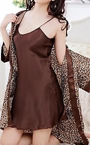 Damen Roben Nachtwäsche Leopard-Baumwoll-Mischungen Tierfell-Druck Damen