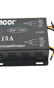 Xincol® Vehicle Car DC 24V to 12V 15A Power Supply Transformer Converter-Black