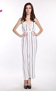 haoduoyi® Women's Deep V Backless Cross Strap Black Pinstripe Slim Waist Jumpsuits