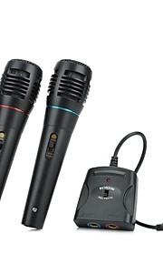 5-i-1 kabel karaoke mikrofon sæt til PS3 / PS2 / PC / Wii / Xbox 360 (sort, 2 stk)