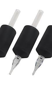 """itatoo ™ 25st 25mm 1 """"siliconen zachte zwarte wegwerp tattoo buizen met duidelijke lange tips-flat / magnum tip"""