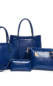 Women Patent Leather Shopper Shoulder Bag / Tote - Blue / Red / Black