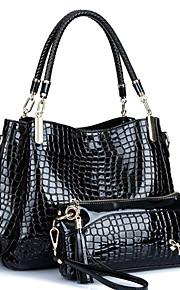 Women PU / Patent Leather Barrel Shoulder Bag / Tote - Blue / Red / Black