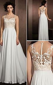 Lanting une ligne robe de mariée - multi-couleur dentelle parole longueur bijou / satin mousseline