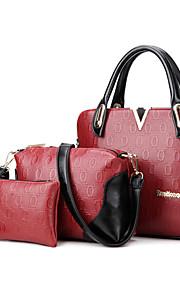 Women PU Shopper Shoulder Bag / Tote - White / Blue / Red / Black