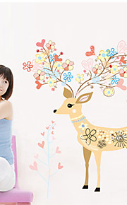 Wall Stickers Wall Decals, Colorful Cartoon Deer PVC Wall Stickers