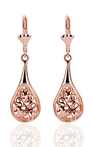 Fashion Drop Shape Tin Alloy Rose Gold Plated Czech Drill Earrings(Rose Gold)(1Pr)