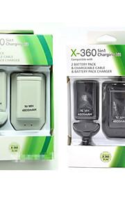 5 i 1 USB 4800mAh batteripakke&oplader kabel kit til Xbox-360