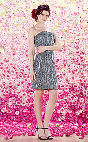 TS 패션 칵테일 파티 드레스 - 칼집 / 칼럼 끈이없는 무릎 길이 반짝이