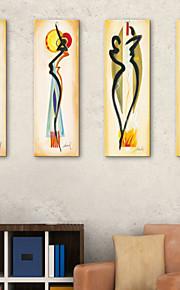 e-FOYER étiré sur toile abstraite une femme décorative ensemble de quatre de peinture