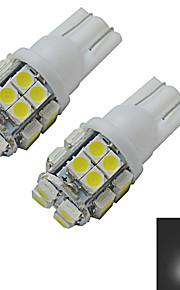 2 stuks t10 1.5W 20x3528smd 85-100lm 6000-6500K koel wit omgekeerde kant wig licht LED autolichten (DC 12V)