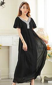 Ankle-length Chiffon Bridesmaid Dress A-line V-neck with Beading