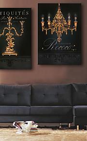 e-FOYER étiré conduit art de toile d'impression éclairage européen LED clignotant ensemble de deux d'impression de fibre optique