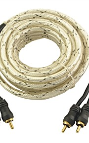 Auto Car 5M Long Dual RCA Male Composite AV Cable--White