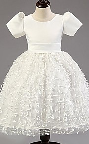 Prinsessa Satiini/Tylli Flower Girl Dress - Lyhyt hiha - Polven alle